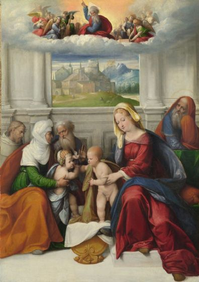 Garofalo: The Holy Family with Saints. Fine Art Print/Poster. Sizes: A4/A3/A2/A1 (001305)